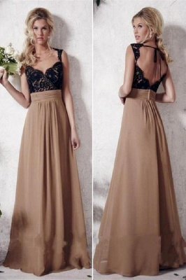 Gorgeous Applique Straps Prom Dresses Simple Backless Sleeveless Sexy Evening Dresses_1