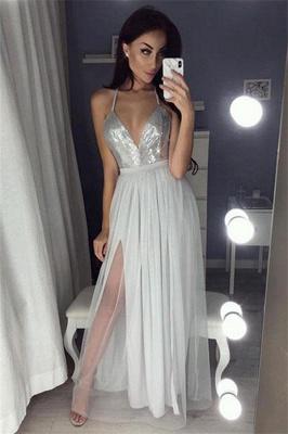 Glamorous Sequins Halter Applique Prom Dresses Side slit Sheer Sleeveless Sexy Evening Dresses_2