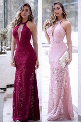 Halter Lace Mermaid Prom Dresses Sleeveless Keyhole Side Slit Sexy Evening Dresses_1