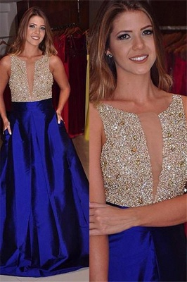 Gorgeous Jewel Sequins Prom Dresses Sleeveless Tulle Sexy Evening Dresses with Pocket_2
