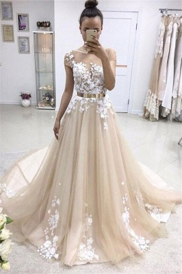 Applique Jewel Prom Dresses Ribbons Sheer Sleeveless Sexy Evening Dresses