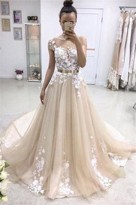 Applique Jewel Prom Dresses Ribbons Sheer Sleeveless Sexy Evening Dresses_1