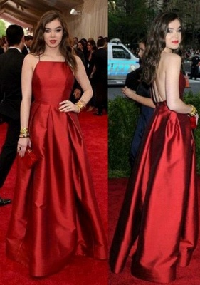 Red Halter Ruffles Prom Dresses Open Back Sleeveless Sexy Evening Dresses_2