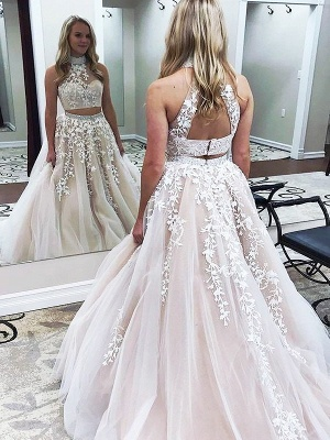 Chic Halter Two Piece Applique Prom Dresses Lace Up Crystal Sexy Evening Dresses with Beads_4