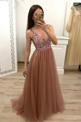 Crystal Straps Sequin Prom Dresses Lace-Up Side slit Mermaid Sleeveless Sexy Evening Dresses_1