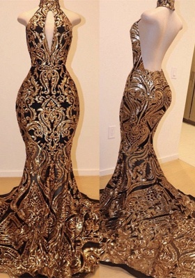 High Keyhole Neckline Backless Prom Dress | Luxury Black Gold Evening Dresses