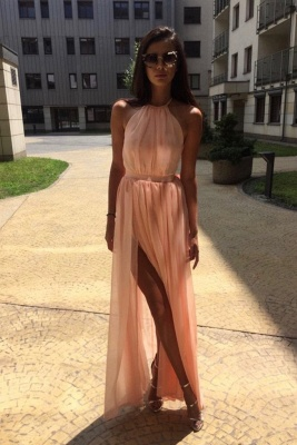 Chic Sheer Halter Ribbons Prom Dresses Side slit Overskirt Bowknot Sleeveless Sexy Evening Dresses_3