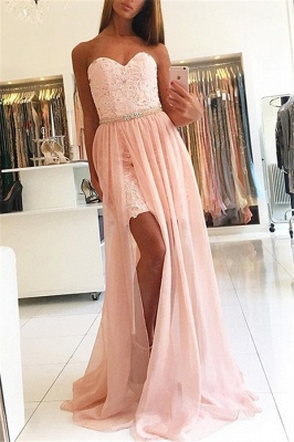 Pink Sweetheart Applique Crystal Prom Dresses Side Slit Lace Sexy Evening Dresses Over Skirt with Belt_1