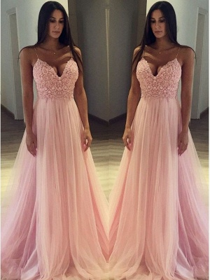 Pink Spaghetti Strap Applique Prom Dresses Sleeveless Tulle Cheap Sexy Evening Dresses_2