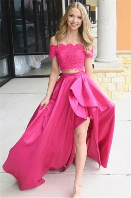 Chic Pink Beads Applique Off-the-Shoulder Prom Dresses Side slit Sleeveless Sexy Evening Dresses_1
