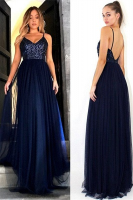 Crystal Spaghetti Strap Open Back Prom Dresses Tulle Sexy Evening Dresses with Beads_4