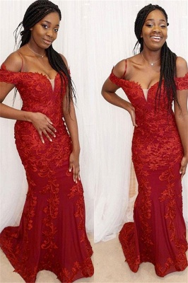 Red Off-the-Shoulder Applique Prom Dresses Mermaid Sleeveless Sexy Evening Dresses_1