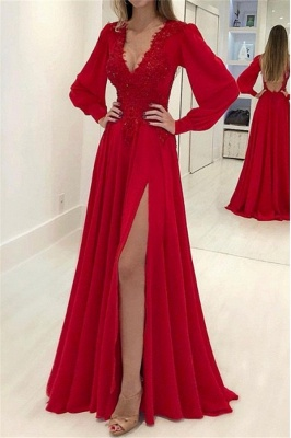 Chic Res V-Neck Long Sleeves Prom Dresses Side Slit Applique Sexy Evening Dresses with Beads_1