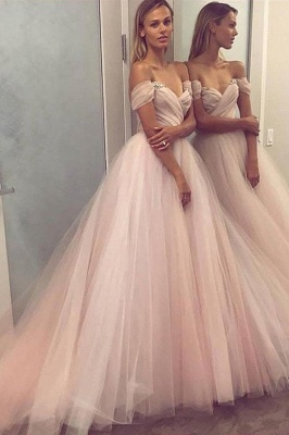 Crystal Off-the-Shoulder Prom Dresses Ruffle Sheer Sleeveless Sexy Evening Dresses_1