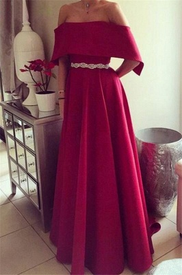 Chic Off-the-Shoulder Ruffles Prom Dresses Sleeveless Sexy Evening Dresses with Belt_1
