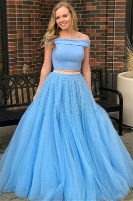 Chic Blue Off -the-Shoulder Keyhole Prom Dresses Two Piece Crystal Sexy Evening Dresses with Beads_1