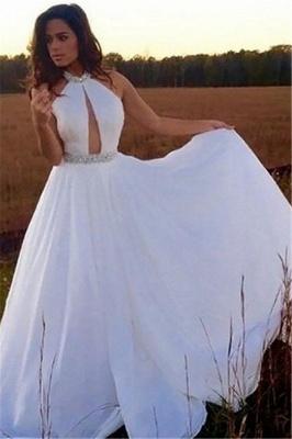 Chic Halter Crystal Prom Dresses Sleeveless keyhole Sexy Evening Dresses Cheap_2