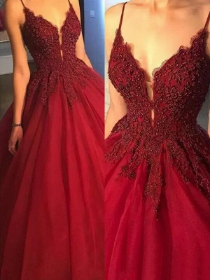 Gorgeous Spaghetti Strap Beads Prom Dresses Red Lace Ball Gown Sexy Evening Dresses_2