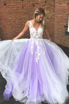 Applique V-Neck Prom Dresses Sheer Sleeveless Sexy Evening Dresses_1