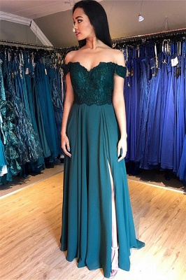 Chic Off-the-Shoulder Applique Prom Dresses Side Slit Sleeveless Sexy Evening Dresses with Beads_2