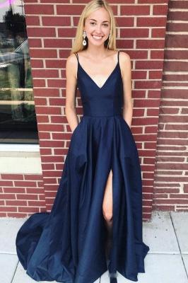 Pocket Spaghetti-Strap Prom Dresses Side slit Mermaid Sleeveless Sexy Evening Dresses_1