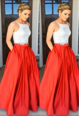 Glamorous A-Line Two-Piece Lace Prom Dress_2