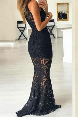 Lace Halter Applique Prom Dresses Mermaid Sleeveless Sexy Evening Dresses_2