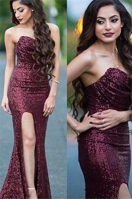 Burgundy Sequins Sweetheart Prom Dresses Mermaid Ruffles Sexy Evening Dresses_1