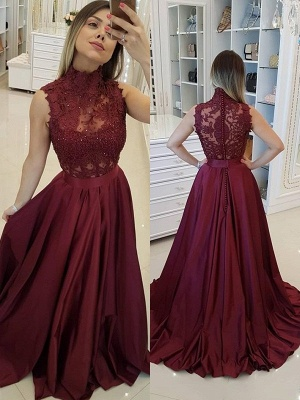 Burgundy High Neck Applique Prom Dresses Sleeveless Beads Sexy Evening Dresses with Belt_2