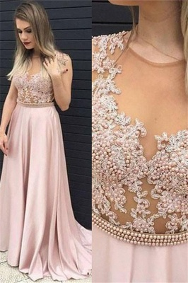 Jewel Beads Applique Prom Dresses Pink Sleeveless Tulle Sexy Evening Dresses Cheap_1