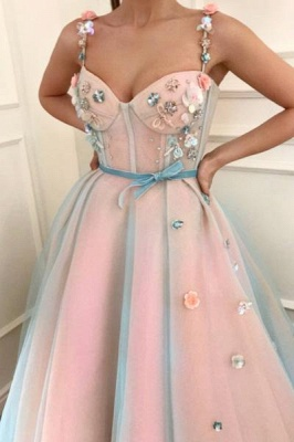 Chic Flower Bowknot Spaghetti-Strap  Prom Dresses Ribbons Sheer Sleeveless Sexy Evening Dresses with Beads_2