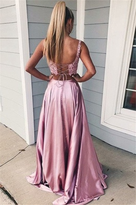 Pink Scoop Lace Up Two Piece Prom Dresses Sleeveless Side Slit Sexy Evening Dresses with Pocket_2