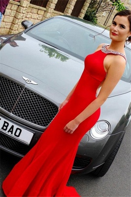 Beads Open Back Red Prom Dresses Halter Simple Mermaid Sexy Evening Dresses Cheap_1