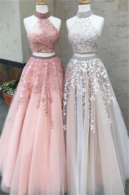 Chic Halter Two Piece Applique Prom Dresses Lace Up Crystal Sexy Evening Dresses with Beads_3