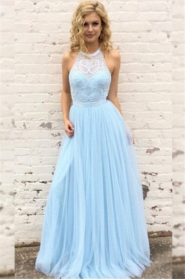 Chic Lace Halter Prom Dresses Sleeveless Tulle Sexy Evening Dresses with Belt Cheap_1