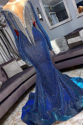 Luxury Navy Blue Long Sleeve Mermaid Prom Dresses | Sequines See Through Neckline Evening Dresses_3