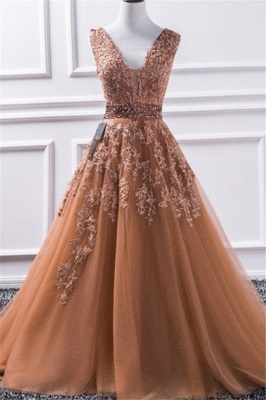 Chic V-Neck Applique Crystal Prom Dresses Sleeveless Tulle Sexy Evening Dresses Cheap_1