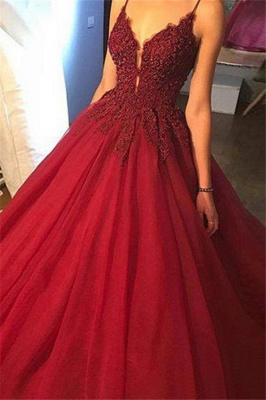 Gorgeous Spaghetti Strap Beads Prom Dresses Red Lace Ball Gown Sexy Evening Dresses_3