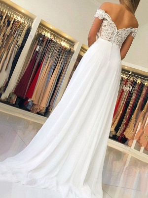 Chic Off-the-Shoulder Applique Prom Dresses Open Back Sleeveless Sexy Evening Dresses with Belt_2