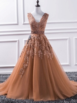 Chic V-Neck Applique Crystal Prom Dresses Sleeveless Tulle Sexy Evening Dresses Cheap_4