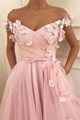 Pink Flower Off-the-Shoulder Prom Dresses Sleeveless Beads Sexy Evening Dresses with Belt_1