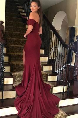 Burgundy Off-the-Shoulder Prom Dresses Side Slit Mermaid Sleeveless Sexy Evening Dresses_2