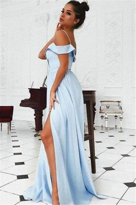 Chic Off-the-Shoulder Ruffle Prom Dresses Side slit A-Line Sleeveless Sexy Evening Dresses_2