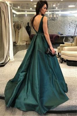 Dark-Green Open Back Prom dresses Sleeveless Beads Sexy Evening Dresses_2