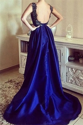 Royal Blue 3-D Flower Crystal Prom Dresses Hi-lo Open Back Sexy Evening Dresses with Beads_2
