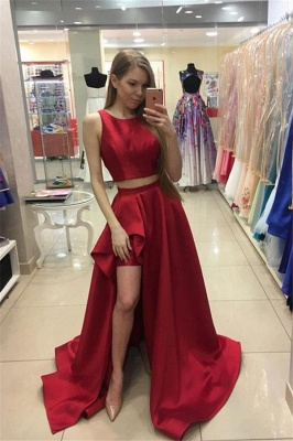 Thick Satin Two Piece jewel Prom Dresses Ruffles Side slit Mermaid Sleeveless Sexy Evening Dresses_1