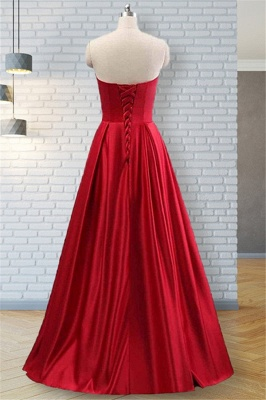Strapless Beads Ruffles Prom Dresses Sleeveless Sexy Evening Dresses with Pocket_4