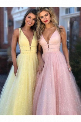 Gorgeous Sequins Straps Tulle Prom Dresses | Ball Gown Sleeveless Sexy Evening Dresses with Beads_8