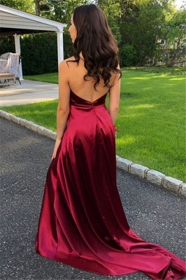 Burgundy Halter Ruffles Sleeveless Prom Dresses Side Slit Open Back  Sexy Evening Dresses_2