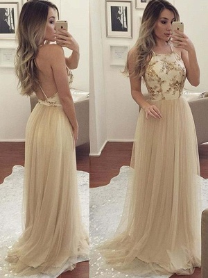 Chic Halter Applique Open Back Prom Dresses Sleeveless Sexy Evening Dresses with Crystal_2